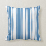 [ Thumbnail: Blue and White Colored Lines/Stripes Pattern Throw Pillow ]