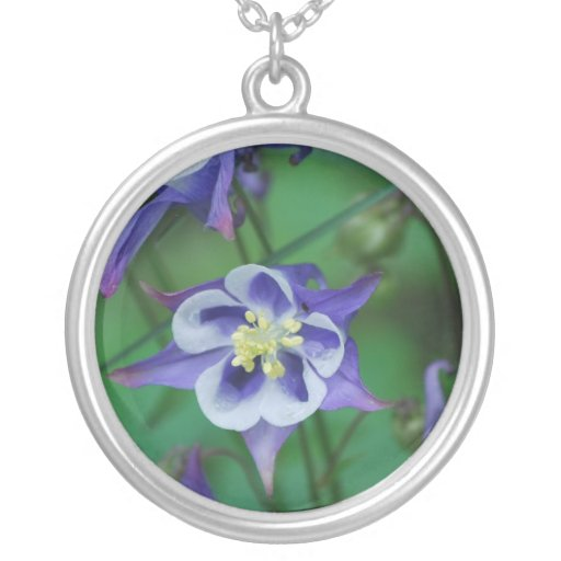 Blue and White Columbine Flower Sterling Necklace