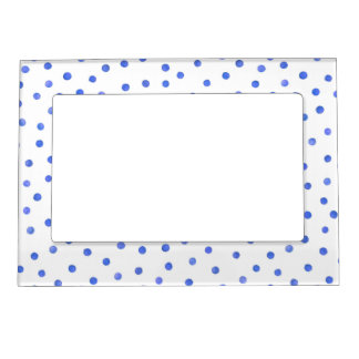 Blue and White Confetti Dots Pattern Magnetic Photo Frame