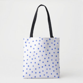 Blue and White Confetti Dots Pattern Tote Bag