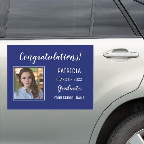 Blue And White Congratulation Photo Graduation Car Magnet