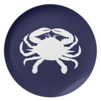 Blue and White Crab Shape Dinner Plate
