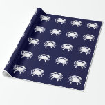 Blue and White Crab Shape Gift Wrapping Paper