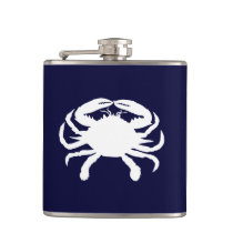 Blue and White Crab Shape Hip Flask