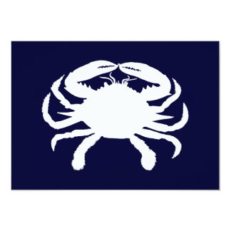 Blue and White Crab Shape 5x7 Paper Invitation Card