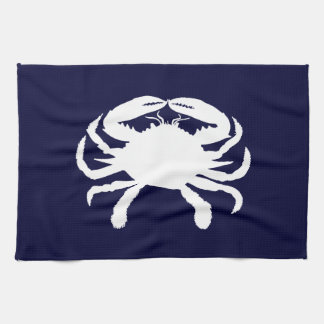 Blue and White Crab Shape Hand Towels