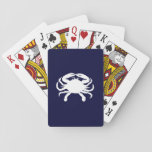 "Blue and White Crab Shape Playing Cards<br><div class=""desc"">White crab shape against a dark nautical blue. The species is a blue crab.</div>"