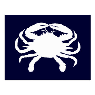 Blue and White Crab Shape Postcard