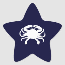 Blue and White Crab Shape Star Sticker