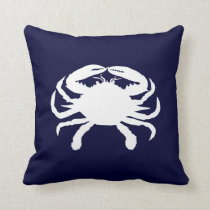 Blue and White Crab Shape Throw Pillow