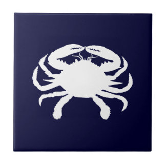 Blue and White Crab Shape Tile
