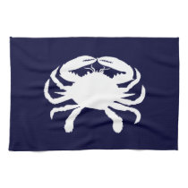 Blue and White Crab Shape Towels