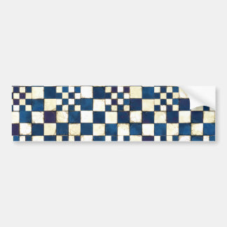 Blue and White Cracked Tile Texture Background Bumper Sticker