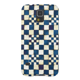 Blue and White Cracked Tile Texture Background Case For Galaxy S5