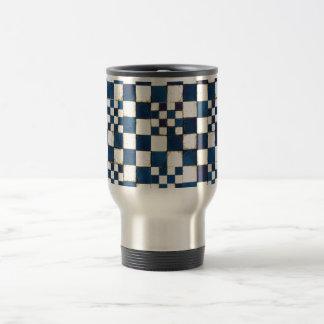 Blue and White Cracked Tile Texture Background Travel Mug