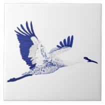 Blue and white cranes tile