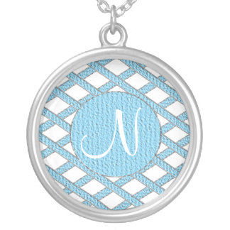 Blue and white crisscross monogram necklace
