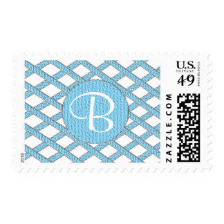Blue and white crisscross monogram stamps