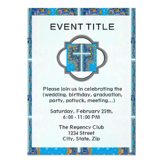 Blue and White Cross Pattern Card