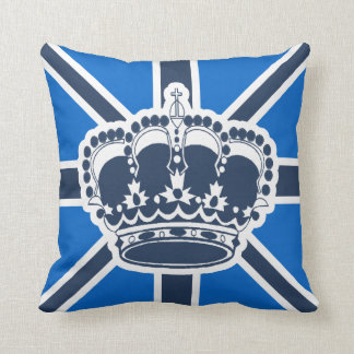 Blue and White Crown Pillow