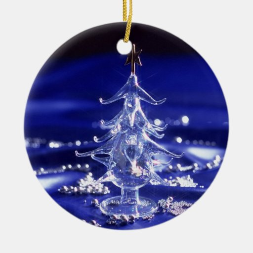 White Christmas Tree Blue Ornaments : Blue and white crystal christmas tree ornament zazzle