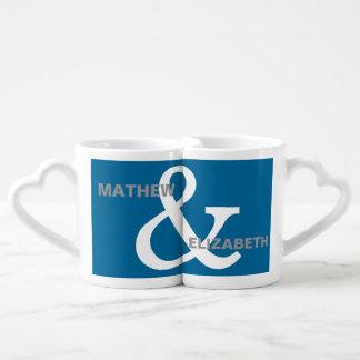 Blue and White Custom Ampersand Lovers Names Coffee Mug Set