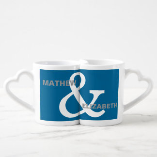Blue and White Custom Ampersand Lovers Names Couples Coffee Mug