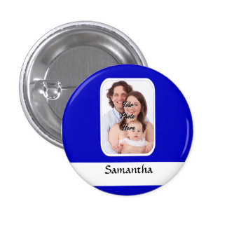 Blue and white custom photo pinback button