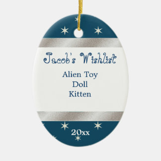 Blue and White Custom Wishlist Ornament