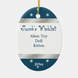 Blue and White Custom Wishlist Ornament