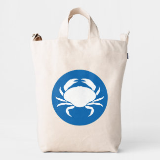 Blue And White Cute Sea-Crab Illustration Duck Bag