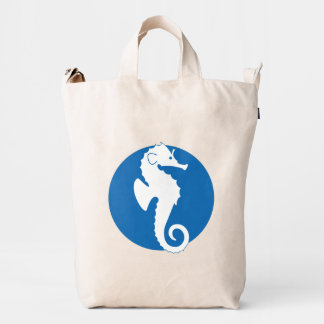 Blue And White Cute Seahorse Illustration Duck Bag