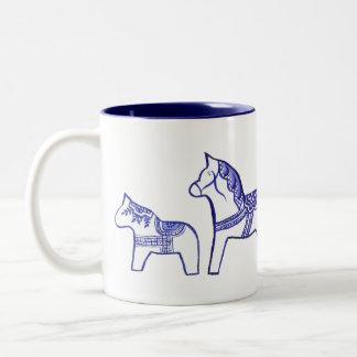 Blue and White Dala Horses Mug