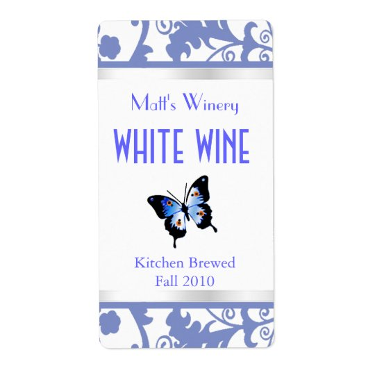 Blue and White Damask and Butterfly Wine Labels