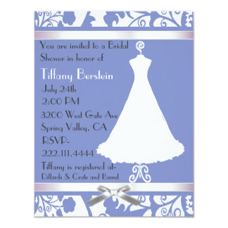 Blue and White Damask Bridal Shower Invitation