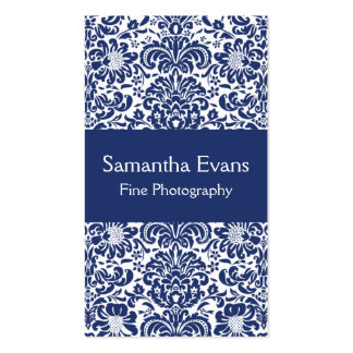 Blue and White Damask Business Card