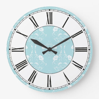 Blue and White Damask Floral Pattern Clocks