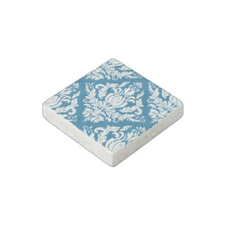 Blue and White Damask Stone Magnet