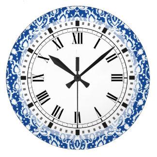 Blue and White Damask Large Clock