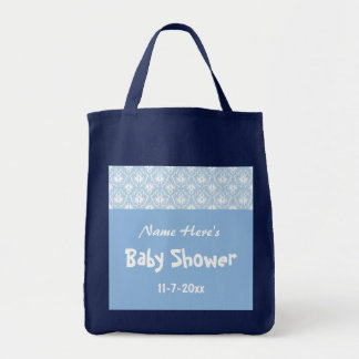 Blue and White Damask Pattern Custom Baby Shower Tote Bag