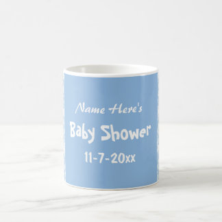 Blue and White Damask Pattern, Custom Baby Shower Mugs