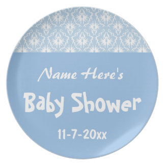 Blue and White Damask Pattern, Custom Baby Shower Plates