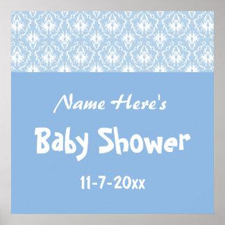 Blue and White Damask Pattern, Custom Baby Shower Print
