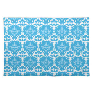 Blue and White Damask Pattern Placemat