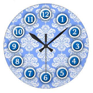 Blue and White Damask Pattern Wall Clock