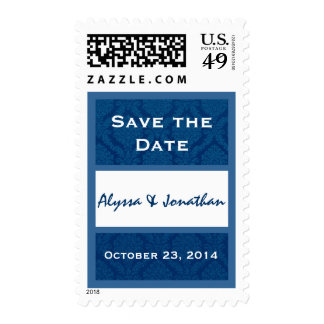 Blue and White Damask Save the Date Wedding Stamps