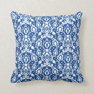 Blue White Throw Pillow : Blue And White Damask Pillows - Decorative & Throw Pillows Zazzle