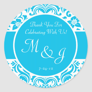 Blue and White Damask Wedding Favor Labels Round Stickers