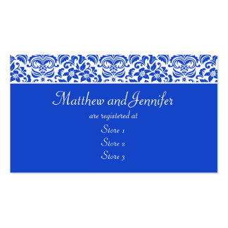 Blue and White Damask Wedding Gift Registry Cards Business Cards