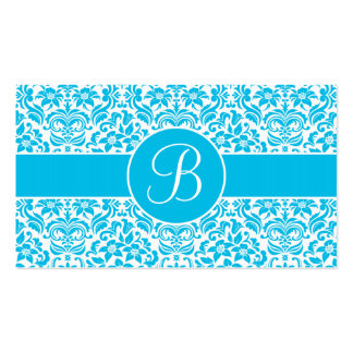 Blue and White Damask Wedding Gift Registry Cards Business Card